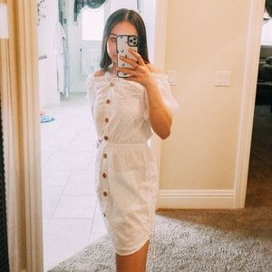white off the shoulder dress!!